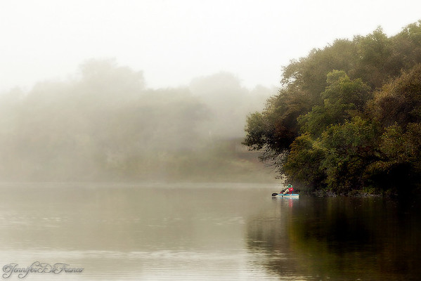 October 17, 2009 - Kayak fisherman.   Another photo from our foggy morning.